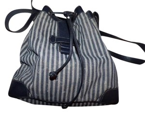 Fendi Xl Size High-end Bohemian Design Rare Blue/Grey Combo Drawstring Top Satchel in Blue/grey thin striped Coated Canvas & navy Leather