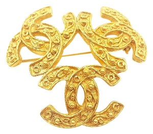 Chanel Authentic Vintage Chanel Gold Plated 3 CC Brooch