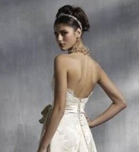 Lazaro 3814 Low Back Silk Satin Lace Top Hem Wedding Dress