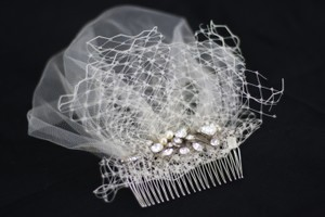 BHLDN Off-white Birdcage Ivory Colette Comb From Bridal Veil