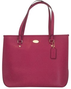 Coach Crossgrain Leather Tote in Cranberry