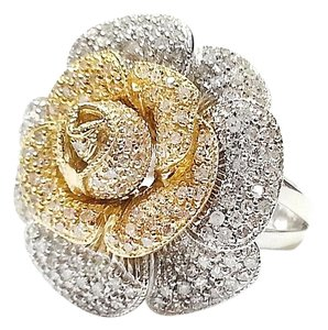 DeWitt's Custom Made 14 Karat Yellow/White Gold Flower Ring With 1.57 Ct.Tw. Diamonds