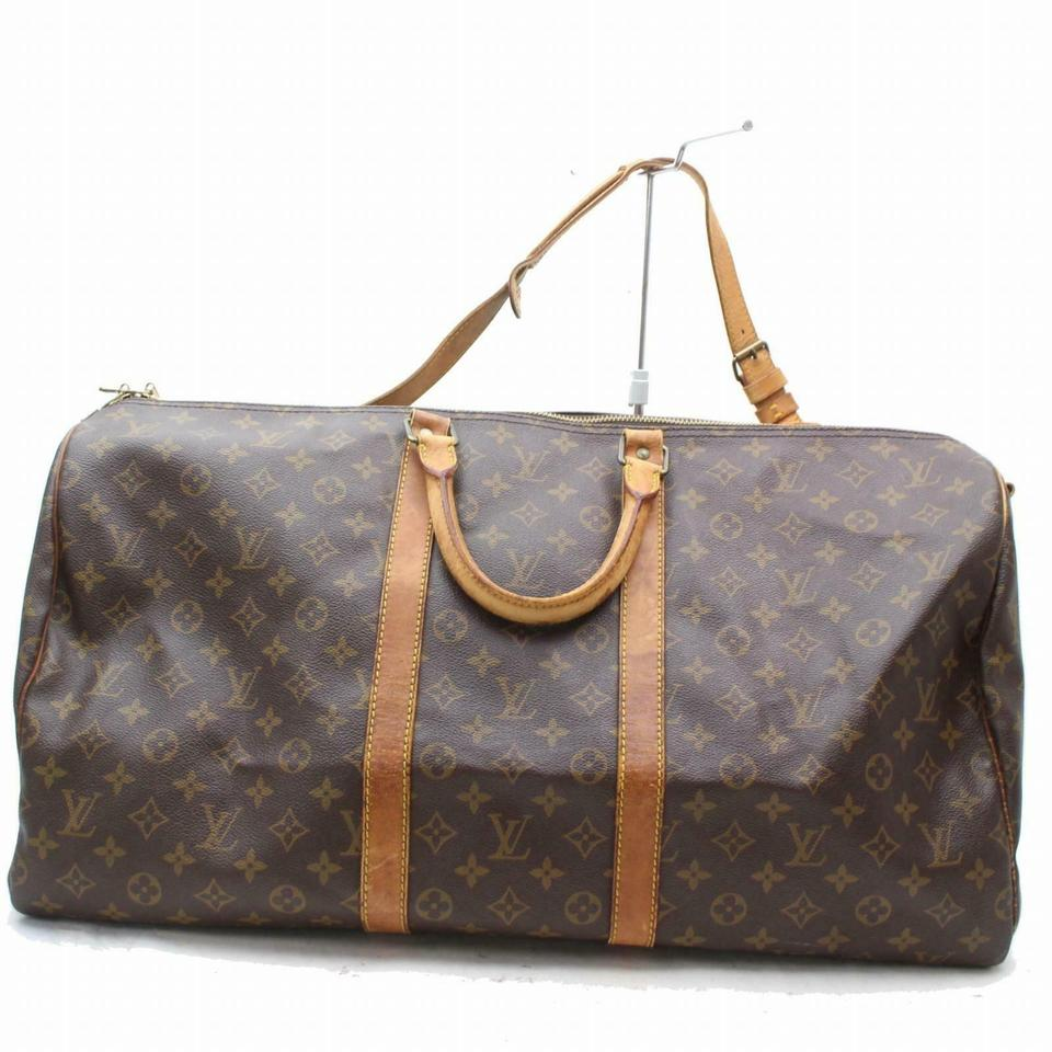 c86c7ddf368e Louis Vuitton Keepall Bandouliere 55 with Strap Brown Canvas Weekend Travel  Bag