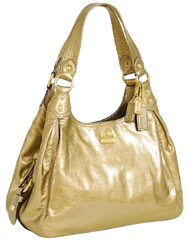 14cc2be065 Coach Maggie Madison Gold Patent Leather Shoulder Bag - Tradesy