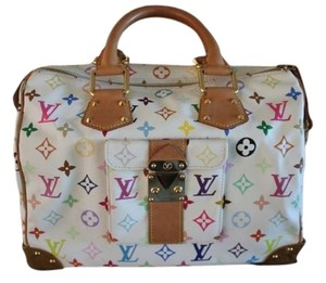 Louis Vuitton Tote in White with Multicolor Markings