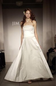 Jim Hjelm Size 18/20 7306 Beaded Embellished Top Satin Full Aline Strapless Wedding Dress