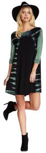 Go Couture short dress Black and Green Tie Dye Longsleeve New Hippy Coachella on Tradesy