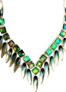 Beautiful Dichroic Glass and Topaz 925 Sterling Silver Necklace