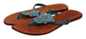 Mystique Boutique Turquoise Jeweled Leather Blue Sandals