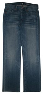 7 For All Mankind 5 Pocket Style Button Fly Cotton/Spandex Relaxed Fit Jeans-Medium Wash