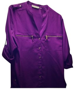 Calvin Klein Button Down Shirt Purple and gold