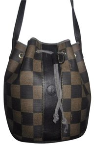 Fendi Mint Vintage Drawstring Top Bucket Restored By Expert Satchel in brown checkerboard print