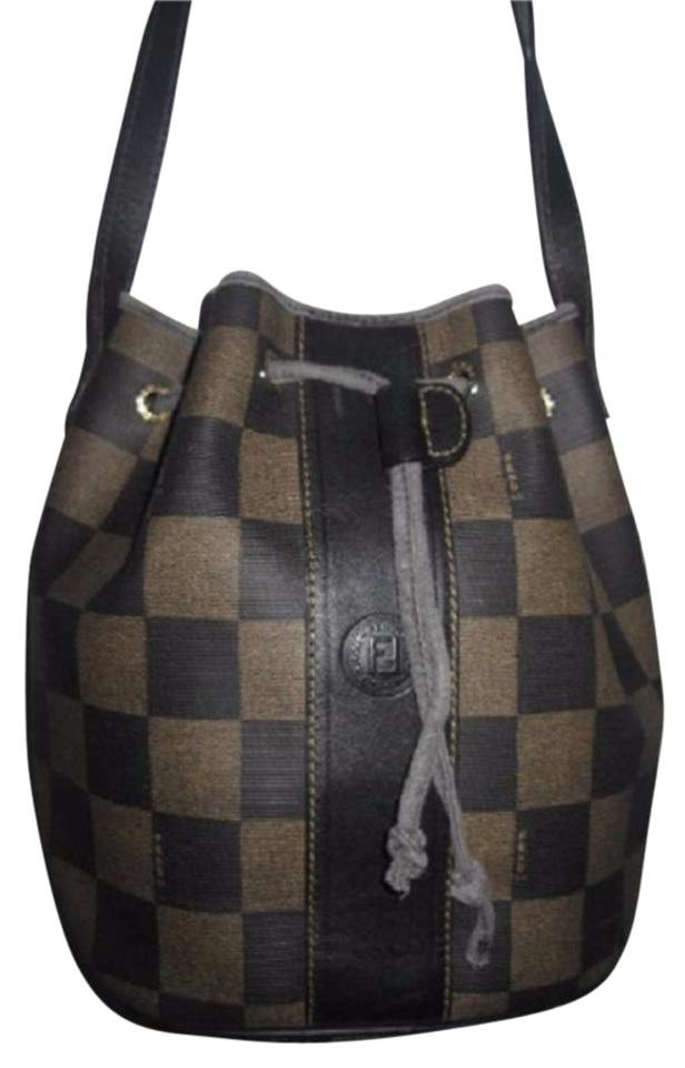 9fa408370bab Fendi Mint Vintage Popular Style Drawstring Top Bucket Restored By Expert  Satchel in checkerboard print canvas ...