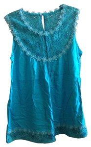Jennifer & Grace Summer Festival Beach Coverup Top Teal Turq Turquoise Blue