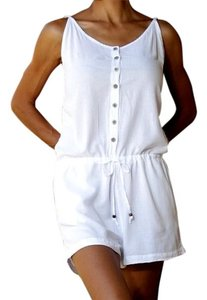 Lirome Embroidered Romper Organic Shortalls Shorts White