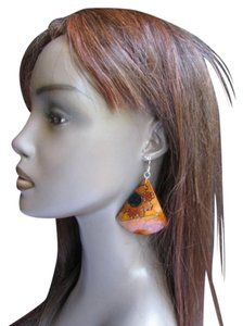 New Women Fashion Earrings Brown Coconut Hand Painted Flowers Hawaiian Design