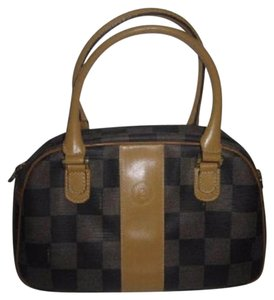 Fendi Mint Vintage M-l Size Two-way Style Removable Strap Rare Satchel in Checkerboard print Coated Canvas in browns & camel leather