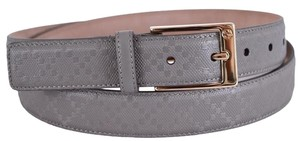 Gucci New Gucci Men's 345658 Grey Diamante GG Buckle Leather Belt