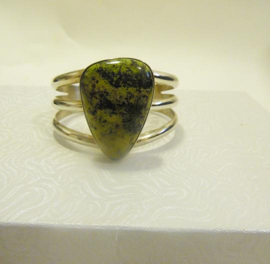 Mine Finds by Jay King Mine Finds By Jay King .925/Signed DTR Sterling Silver Large Pear Shape Green Gemstone Cuff Bracelet (Fits 6 3/4 to 7 Inch wrist) Image 1