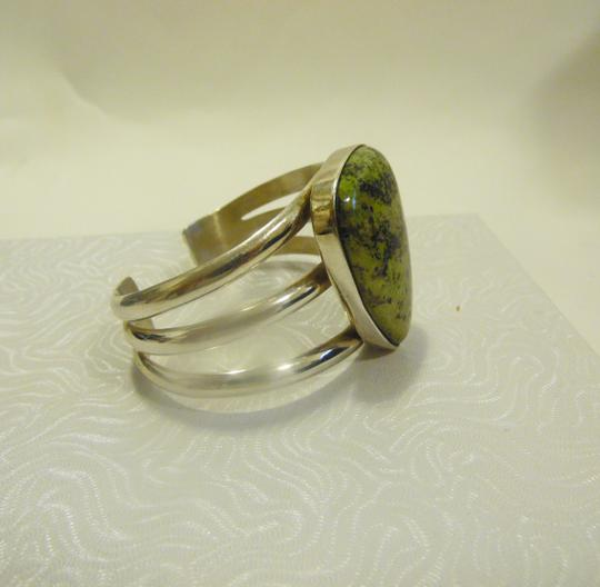 Mine Finds by Jay King Mine Finds By Jay King .925/Signed DTR Sterling Silver Large Pear Shape Green Gemstone Cuff Bracelet (Fits 6 3/4 to 7 Inch wrist) Image 2