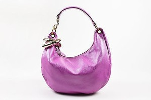 Jimmy Choo Lavender Leather Snakeskin Handle Solar Hobo Bag