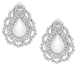Modern Edge Crystal rhinestone embellished pearl teardrop clip on earrings