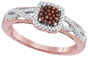 Ladies Luxury Designer 10k Rose Gold 0.20 Cttw Red Diamond Micro-Pave Fashion Ring By BrianGdesigns