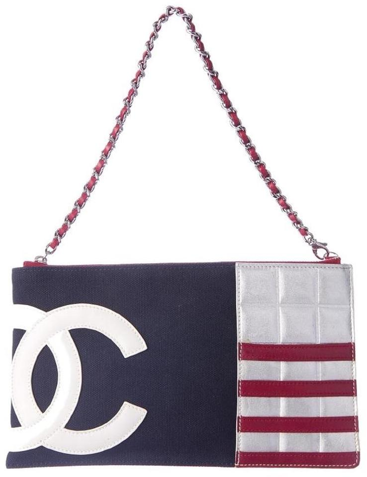 96480fb97b0a Chanel Wallet on Chain Hobo American Usa Flag Pochette Timeless Mini Small  Medium Cc Red White Blue Silver Lambskin Leather Canvas Cross Body Bag