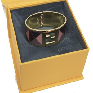Fendi Fendi Fendista Purple Geometric Pattern Gold Palladium Bangle Bracelet