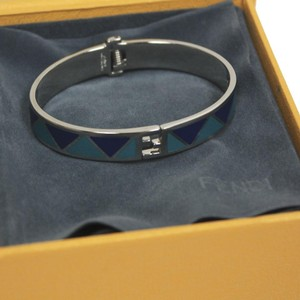 Fendi Fendi Fendista Blue Geometric Pattern Silver Palladium Bangle Bracelet
