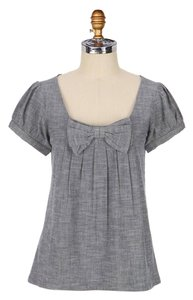 Anthropologie Chambray Blue Short Sleeve Top