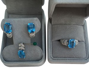 Other Price Just Reduced! Price Just Reduced! 14K White Gold Blue Topaz Diamond Set of Earrings, Ring, and Pendant