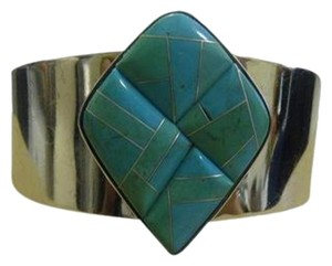 Mine Finds by Jay King Mine Finds By Jay King .925/Signed DTR Sterling Silver Turquoise Inlay Cuff Bracelet fits 6 3/4