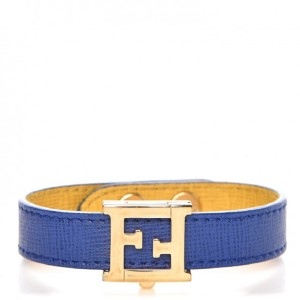 7f3e82702b05 Fendi Fendi Crayons Reversible Yellow   Blue Saffian Leather Bracelet