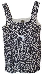 FEI Anthropologie Drawsting Cotton Abstract Top Black and white