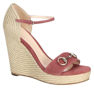 Gucci Sandals Espadrille Carolina Horsebit Dry Rose Wedges