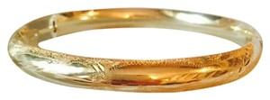 14k Gold Bangle Bracelet With Fine Stamped Texture Detail