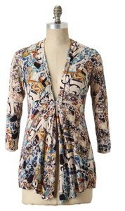 Anthropologie Open Front Multi Color Cotton Blend Sparrow Cardigan