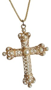 Gold King Style Cross Necklace with Pearls