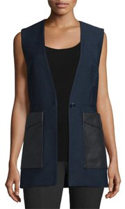 Rag & Bone Leather Relaxed Cotton Silk Vest