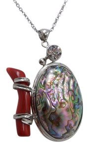 Red Coral and Abalone Shell Pendant with Stainless Steel Chain