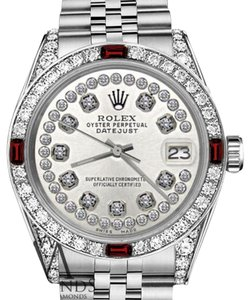 Rolex Women's Rolex 31mm Datejust S/S Silver Dial with Ruby & Diamonds