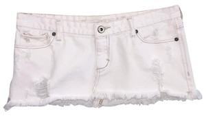 Abercrombie & Fitch Denim Mini Low Waist Mini Skirt White