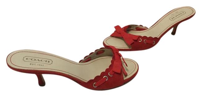 Item - Red Suede All Leather Open Toe Cyndi Mules/Slides Size US 8.5 Regular (M, B)