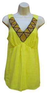 Ella Moss Beaded Gauze Boho Tank Summer Top Yellow