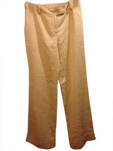 Ann Taylor Wide Leg Cuff Silk Wide Leg Pants Cream