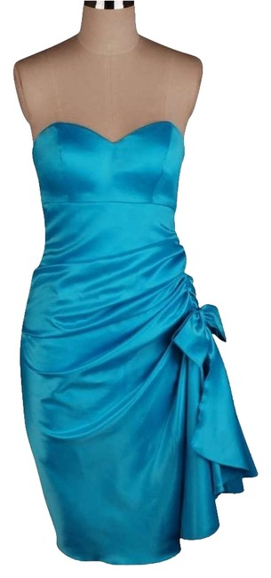 Preload https://img-static.tradesy.com/item/1788560/blue-strapless-bunched-bow-satin-above-knee-cocktail-dress-size-22-plus-2x-0-0-650-650.jpg