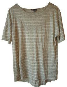 Vince Linen Striped Gray White T Shirt