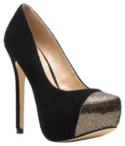 Steve Madden Black And Gold Platforms