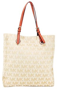 Michael Kors Canvas Leather Buckle Tote in Beige